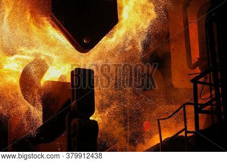 Red Hot Steel Metal Billets After Molten Steel Casting.  Continuous Casting Machine. Background Of T