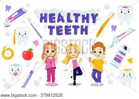 Children Take Care Of Their Teeth. Healthy Teeth Concept. Vector Illustration In Flat Cartoon Style