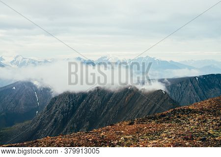 Atmospheric Alpine Landscape With Big Rockies And Giant Snowy Mountains With Glacier. Beautiful View