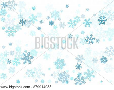 Snow Flakes Falling Macro Vector Illustration, Christmas Snowflakes Confetti Falling Scatter Card. W
