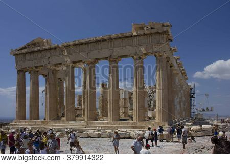 Athens, Greece - August 13 2016: The Parthenon Temple Under Renovation Works In Athens Acropolis