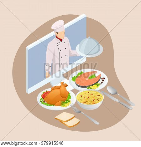 Isometric Cooking Education Online. Professional Cooking. Home-cooked Meal