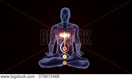 3d Illustration With A Silhouette In An Enlightened Yoga Meditation Pose With Four Highlighted Hindu