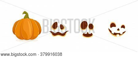 Set Of Halloween Elements. Set Of Pumpkin Smiles Isolated On White Background. Scary Illustration Ca