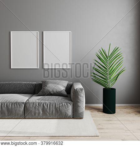 Blank Empty White Poster Frame In Modern Living Room Interior Background, Scandinavian Style Living