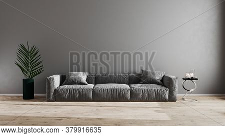 Bright Modern Living Room With Gray Sofa, Green Plant And Coffee Table On Wooden Laminate. Scandinav