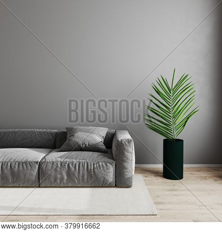 Modern Living Room Interior Background, Scandinavian Style Living Room Mock Up With Gray Sofa And Gr