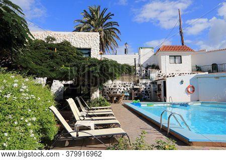 Gran Canaria, Spain - November 28, 2015: Generic Small Hotel Swimming Pool In Gran Canaria, Spain. C