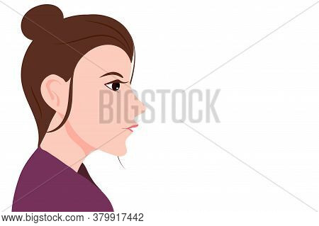 Portrait Of Beautiful Brunette Woman With Long Hair, Asian Woman Head In Profile , Women With Sheaf