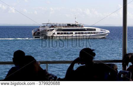 Salvador, Bahia / Brazil - November 3, 2014: Ferry Boat Anna Nary Is Seen Sailing Through Baia De To