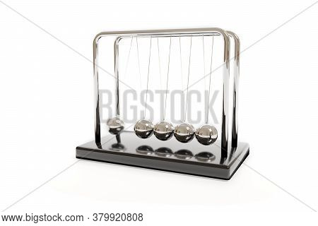 Newton's Cradle Swinging Isolated On A White Background. Balance Concept. Illustration 3d.