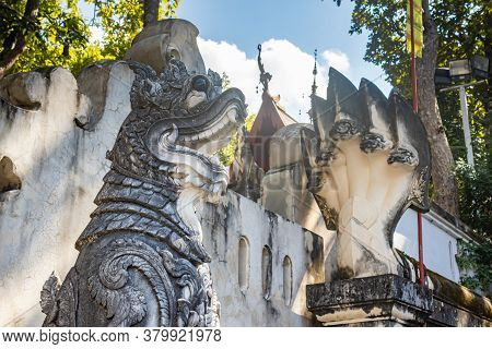 Phayao, Thailand - Dec 1, 2019: Thai Lion Statue In Analayo Temple At Phayao Thailand With Blue Sky