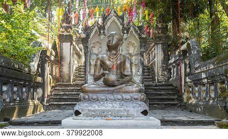 Phayao, Thailand - Dec 1, 2019: Upagupta Buddhist Monk Statue In Analayo Temple Or Wat Analayo At Ph