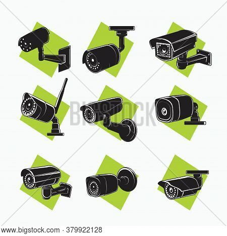 Silhouette Cctv Set Icon - Indoor Cctv, Outdoor Cctv, Wireless Cctv With Antenna - Tube, Square Shap