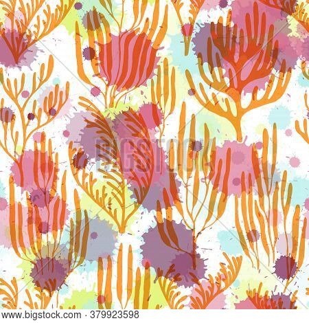 Coral Reef Seamless Pattern. Paint Splashes Drops Watercolor Background. Underwater Plants Fabric Ve