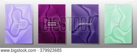 Curve Topography Lines Patterns Vector Minimalist Covers Set. Geography Magazine Front Pages Topogra