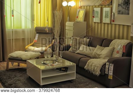 Russia, Sankt-petersburg - 26.12.2013: Interior Of Large Ikea Store With A Wide Range Of Products In