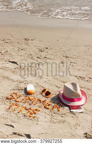 Inscription Summer Time Made Of Amber Stones, Accessories For Sunbathing And Passport With Currencie