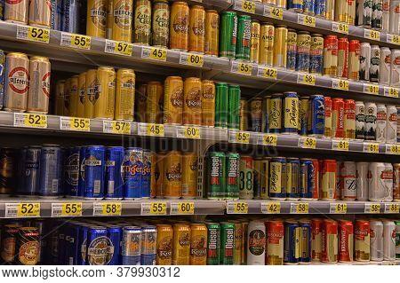 Russia, St. Petersburg, 15,08,2017 Beer In Banks In The Supermarket
