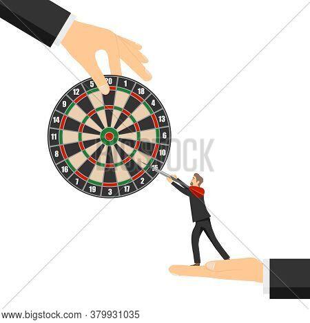 People Play Darts. A Circle For Playing Darts With Darts. Vector Illustration. Vector.