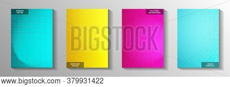 Minimal Circle Faded Screen Tone Cover Templates Vector Series. Business Catalog Perforated Screen T