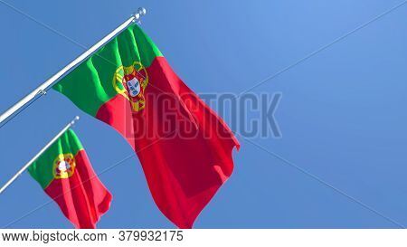 3d Rendering Of The National Flag Of Portugal Waving In The Wind