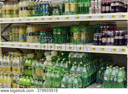 St. Petersburg, Russia 15,03,2015 Carbonated Non-alcoholic Drinks In The Supermarket