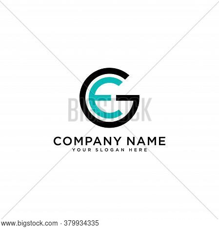 Ge Initial Letters Loop Linked Circle Monogram Logo