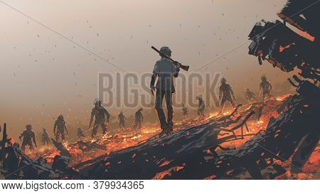 The Man Facing A Zombie Group, Digital Art Style, Illustration Painting