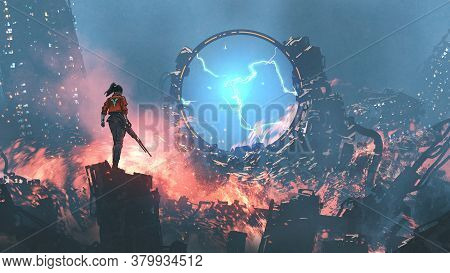 Girl With A Gun Looking At The Destroyed Futuristic Portal In Ruin City, Digital Art Style, Illustra