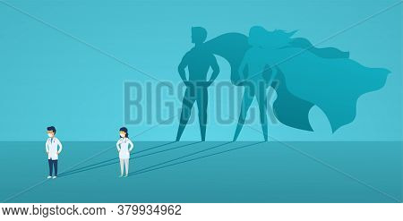 Doctors Woman And Man With Big Shadow Superhero. Heroes Hospital Staff In Mask And Protective Suit,