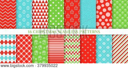 Christmas Seamless Pattern. Vector. Xmas Textures With Zigzag, Ball, Star, Snow, Gift Box, Stripes,