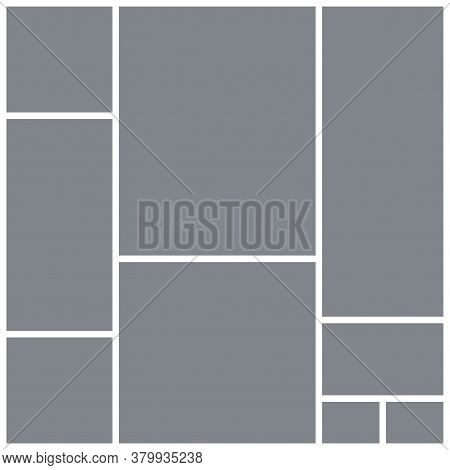 Photo Collage Grid. Mood Board Square Template. Vector. Moodboard Design. Gray Pictures On White Bac