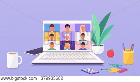 People Talk Or Learning Online By Teleconference On Laptop Working From Anywhere Parts Of The World