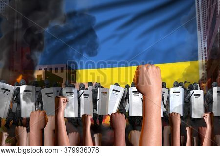 Protest In Ukraine - Police Swat Stand Against The Angry Crowd On Flag Background, Riot Fighting Con