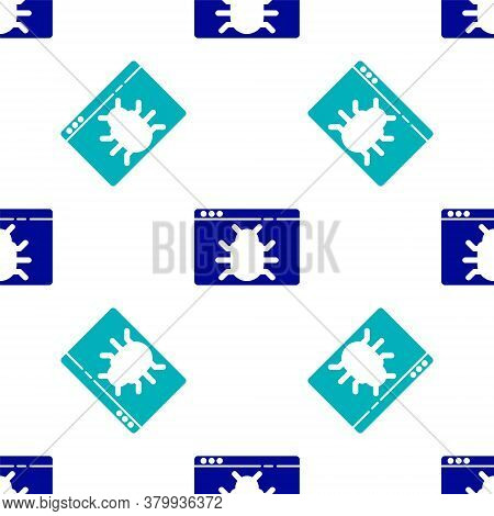 Blue System Bug Concept Icon Isolated Seamless Pattern On White Background. Code Bug Concept. Bug In