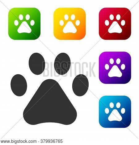 Black Paw Print Icon Isolated On White Background. Dog Or Cat Paw Print. Animal Track. Set Icons In