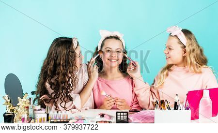 Perfect Female. Beauty Portrait Of Three Children With Natural Make Up And Healthy Skin. Happy Child
