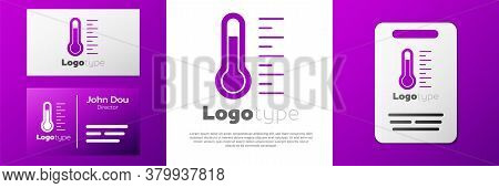 Logotype Meteorology Thermometer Measuring Icon Isolated On White Background. Thermometer Equipment