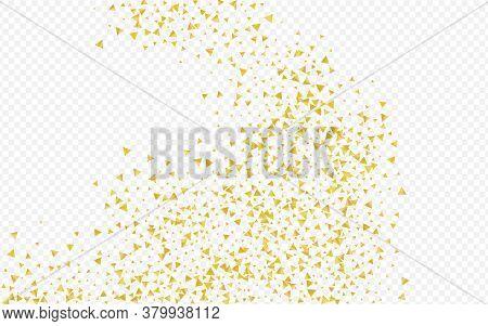 Gold Shards Falling Transparent Background. Shiny Rain Invitation. Golden Sequin Golden Texture. Tri