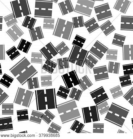 Black Road Icon Isolated Seamless Pattern On White Background. Vector