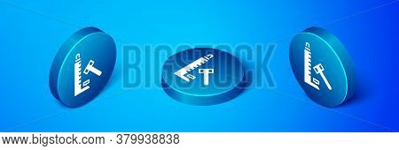 Isometric High Striker Attraction With Big Hammer Icon Isolated On Blue Background. Attraction For M