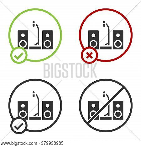 Black Home Stereo With Two Speaker S Icon Isolated On White Background. Music System. Circle Button.