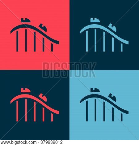 Pop Art Roller Coaster Icon Isolated On Color Background. Amusement Park. Childrens Entertainment Pl