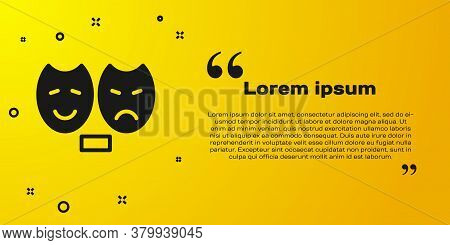 Black Comedy And Tragedy Theatrical Masks Icon Isolated On Yellow Background. Vector