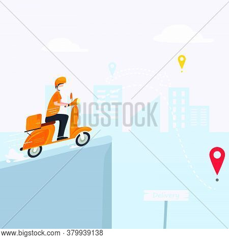 Illustration Of Concept Of Sending Without Contact. Vector Humans Wearing Masks. Protective Box With