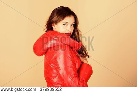 Comfortable Down Jacket. Red Color. Finding Right Winter Jacket Is Essential To Enjoyable Winter Sea