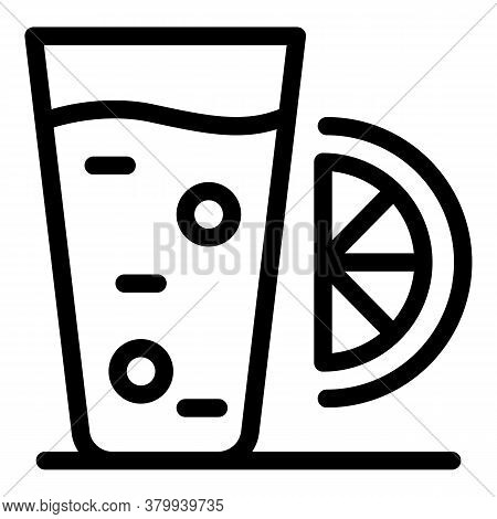 Water With Lime Icon. Outline Water With Lime Vector Icon For Web Design Isolated On White Backgroun