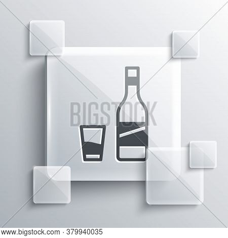 Grey Bottle Of Vodka With Glass Icon Isolated On Grey Background. Square Glass Panels. Vector