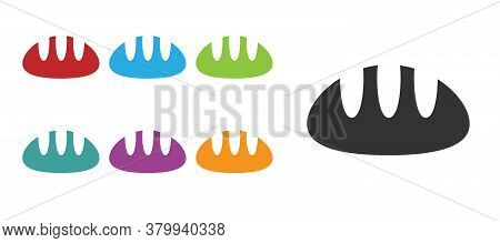 Black Bread Loaf Icon Isolated On White Background. Set Icons Colorful. Vector